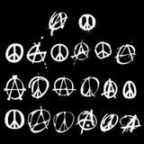 Marchio di pace di anarchia di simbolo Immagini Stock Libere da Diritti