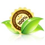 Marchio di qualità premio con le foglie Immagini Stock Libere da Diritti