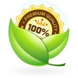 Marchio di qualità premio con le foglie Fotografia Stock
