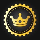 Marchio di qualità di super della corona Etichetta/distintivo genuini brillanti dorati di commercio Fotografia Stock Libera da Diritti