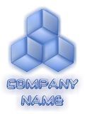 Logo di vetro 3D di affari blu Fotografia Stock