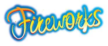 Marchio grafico del testo dei fuochi d'artificio Fotografia Stock