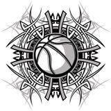 Marchio tribale di vettore della sfera di pallacanestro Fotografie Stock Libere da Diritti