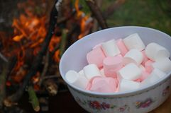 Marchmallow and fireplace Stock Photos