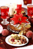 Marchpane cake with wine punch and cookies Stock Image