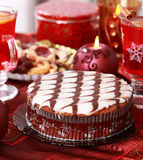 Marchpane cake with wine punch and cookies Stock Images