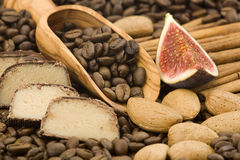 Marchpane, coffee, cinnamon, almonds and fig Stock Photography