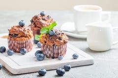 Marchwiani muffins z blueberrie Zdjęcie Royalty Free