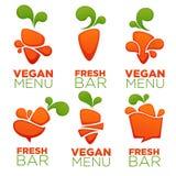 Marchwiany jarzynowy weganinu menu i świeży sok, wektorowa kolekcja ilustracji