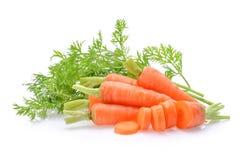 Marchwiany warzywo z liśćmi odizolowywającymi na białym tle zdjęcie stock