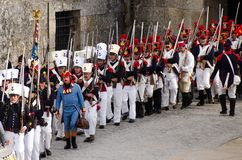 Marcia francese dei soldati Immagine Stock Libera da Diritti