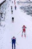 Marcialonga, group of skiers Stock Photos