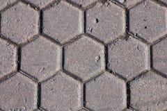 Marciapiede del cemento del modello di esagono Fotografia Stock Libera da Diritti