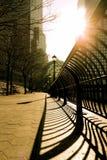Marciapiede del cortile del centro finanziario del mondo Fotografia Stock