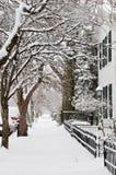 Marciapiede dello Snowy Fotografia Stock Libera da Diritti