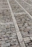 Marciapiede di pietra nella prospettiva, fondo Fotografia Stock