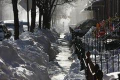 Marciapiede sotto neve Fotografia Stock Libera da Diritti