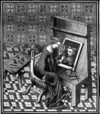 Marcie, римская дама, занятая красящ его портрет, винтажное engravin Стоковые Фотографии RF