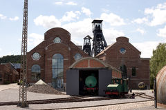 MARCINELLE - 6. AUGUST 2017: Bergbaumuseum Bois du Cazier lizenzfreie stockbilder