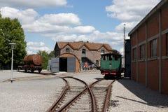 MARCINELLE - AUGUST 6, 2017: Bois du Cazier mining museum. Yard. Photo taken on August 6, 2017 in Marcinelle, Belgium stock photo
