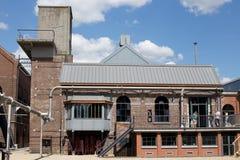 MARCINELLE - AUGUST 6, 2017: Bois du Cazier mining museum. Yard. Photo taken on August 6, 2017 in Marcinelle, Belgium stock photography