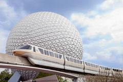 Epicot's Marck VI monorail and Spaceship Earth royalty free stock photos