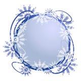 Marco único de la insignia del copo de nieve stock de ilustración