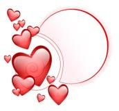 Marco abstracto con los corazones dimensionales Fotografía de archivo libre de regalías
