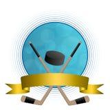 Marco abstracto de la cinta del oro del círculo del palillo del duende malicioso del hielo del hockey del fondo Imagen de archivo libre de regalías