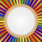 Marco abstracto del fondo coloreado de los lápices Fotografía de archivo