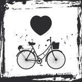 Marco abstracto del grunge monte en bicicleta la silueta y el corazón en el fondo blanco, plantilla para su diseño Vector Foto de archivo