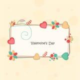Marco adornado para la celebración del día de tarjeta del día de San Valentín Fotos de archivo