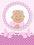 Marco africano feliz del color de rosa del libro de recuerdos del bebé Fotos de archivo