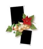 Marco aislado de la Navidad para dos fotos Imagen de archivo libre de regalías