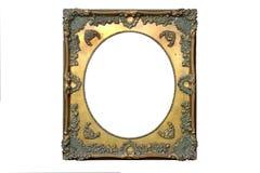Marco aislado del espejo, ornamentaci?n, material de madera foto de archivo