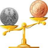 Marco alemão contra o euro Imagens de Stock