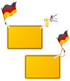 Marco alemán del mensaje del deporte con el indicador. Fotos de archivo