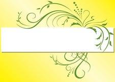 Marco amarillo con la flora verde Fotos de archivo
