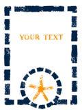 Marco amarillo y blanco azul náutico del grunge con las rayas, el nudo marino y el ancla, vector Fotografía de archivo