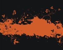 Marco anaranjado de Grunge con los elementos florales Fotografía de archivo