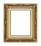 Marco antiguo del oro en el fondo blanco Imagen de archivo libre de regalías