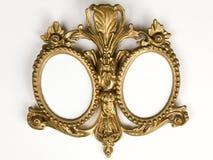 Marco antiguo oval doble del oro Fotografía de archivo