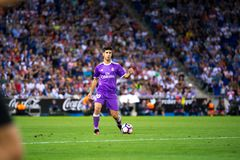 Marco Asensio plays at the La Liga match between RCD Espanyol and Real Madrid CF. BARCELONA - SEP 18: Marco Asensio plays at the La Liga match between RCD stock images