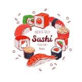 Marco asiático de la comida Ejemplo coloreado dibujado mano del vector Sushi japón ilustración del vector