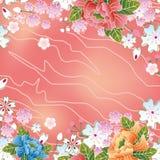 Marco asiático de los flores de cereza Foto de archivo libre de regalías