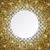 marco asteroide de oro del confeti 3d aislado en un b transparente Fotografía de archivo libre de regalías