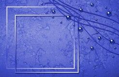 Marco azul abstracto con las burbujas y los curles Imagenes de archivo
