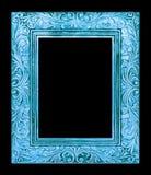marco azul antiguo aislado en el fondo negro, trayectoria de recortes Imagen de archivo