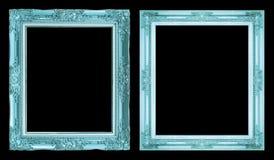 Marco azul antiguo de la colección 2 aislado en el fondo negro, cl Imagenes de archivo