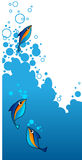 Marco azul con diseño del aqua. Foto de archivo